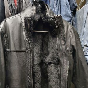 Andrew Marc rabbit fur lined black leather jacket